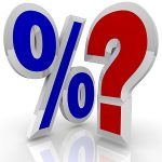 A percentage symbol stands beside a question mark